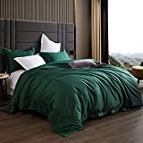 AIKOFUL King Size Duvet Cover Set,100% Egyptian Cotton 3 Piece 1200 Thread Count Luxury Bedding Set- Button Closure & Corner Ties, Solid Color Breathable Comforter Protective Layer (Emerald Green)