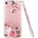 JIAXIUFEN Coque iPhone 7, Coque iPhone 8, TPU Coque pour Apple iPhone 7 iPhone 8 Silicone Étui Housse Protecteur Fleur Floral - Rose Flower