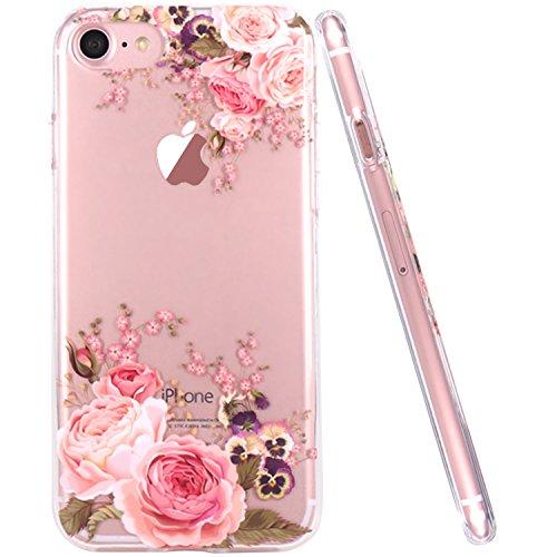 JIAXIUFEN Fiore Floreale Design Rose Flower TPU Gel Silicone Protettivo Skin Custodia Protettiva Shell Case Cover Compatibile con iPhone 7 iPhone 8
