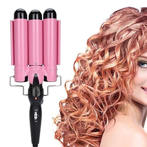 32 mm, 3 barriles, rizador de pelo eléctrico, rodillo de pared para peluquería y hogar, para cabello húmedo y seco (UE)