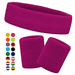 HikBill Sweatbands Set incl Sports Headband and Wrist Sweatbands for Running Bicycle Jogging Tennis Football (Pink)