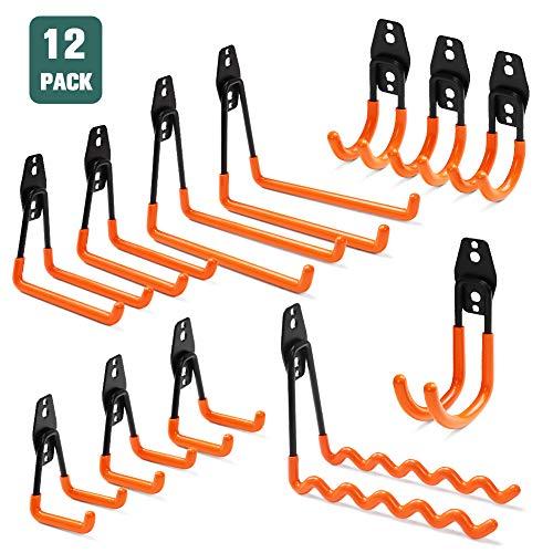 12 Pack Garage Hooks Heavy Duty, Non-Slip Garage Hanger & Organizer, Double Utility Garage Storage Hooks, Tool Hangers & Garage Organization to Storage Garden Tool, Ladder, Bike, Hose