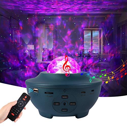 LED Sternenhimmel Projektor Erwachsene,Petrichor Starry Projector Light 360° Drehung Nachtlicht Baby mit Fernbedienung Voice Kontrolle Timer Bluetooth Lautsprecher,für Zuhause,Party Geburtstagsfeier