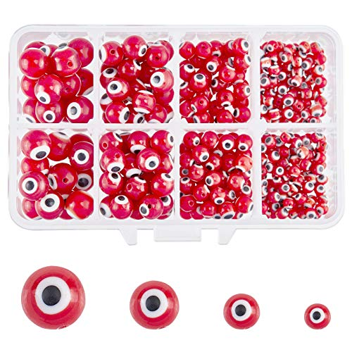 NBEADS 1 caja (alrededor de 390 piezas) 4 tamaños hechos a mano rojo redondo mal de ojo lámparas cuentas espaciadoras para pulseras, collares y bisutería.