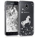 kwmobile Hülle kompatibel mit Samsung Galaxy J3 (2017) DUOS - Handyhülle - Handy Hülle Einhorn Silber Transparent