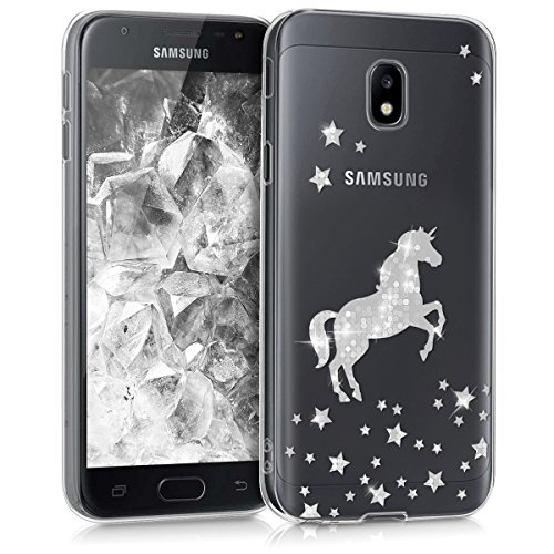 kwmobile Hülle kompatibel mit Samsung Galaxy J3 (2017) DUOS - Hülle Handy - Handyhülle Einhorn Silber Transparent
