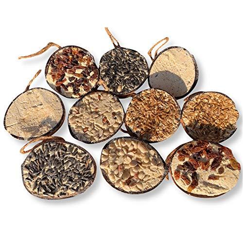 10 Stück gefüllte Kokosnüsse Wildvogelfutter zum Aufhängen Mehlwürmer ganzjähriges Vogelfutter Fett-Futter