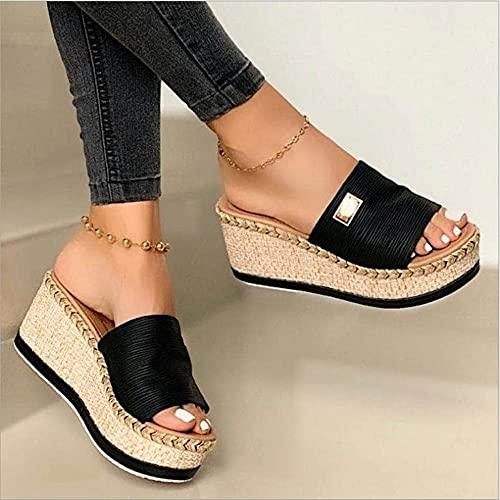 YIYUNKJ Bowknot de la Mujer Plataforma Verano Tacones tacón Sandalias para Zapatillas Zapatos Pescado bucal Alto Pendiente (Color : Black, Size : 41)