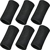 WILLBOND 6 Inch Wrist Sweatband Sport Wristbands Elastic Athletic Cotton Wrist Bands for Sports (2 Pieces, Black)