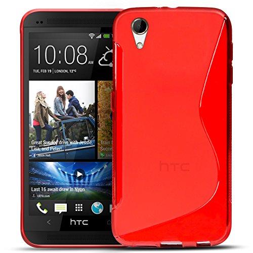 Conie SC5766 S Line Hülle Kompatibel mit HTC Desire 728G, TPU Smartphone Hülle Transparent Matt rutschfeste Oberfläche für Desire 728G Rückseite Design Rot