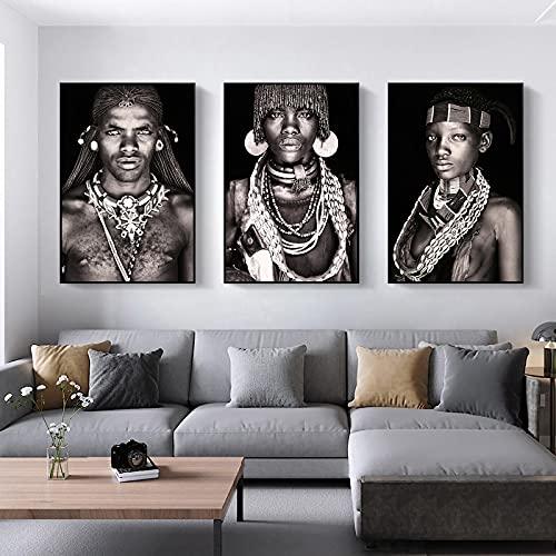 Cuadros sobre lienzo Tribus africanos Retrato Murales Pinturas artísticas Carteles de mujeres y hombres e impresión de cuadros decorativos para salas de estar 65x85cmx3 Sin marco
