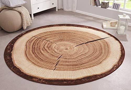 Bavaria Home Style Collection Design Teppich Rund Holz Natur Baumscheibe Baumstamm Naturteppich Rustikale Teppiche Braun, 100 cm