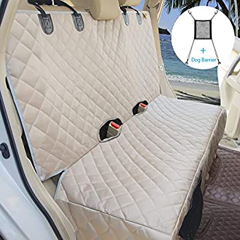 Bark Lover Deluxe Dog Seat Cover for Back Seat-More Durable Waterproof Backseat Protector High Heat Resistant and Nonslip Back Seat Cover for Dogs Kids,Universal Size Fits Cars Trucks SUVs  Beige