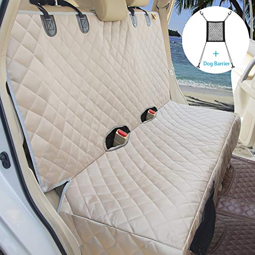 Bark Lover Deluxe Dog Seat Cover for Back Seat-More Durable Waterproof Backseat Protector, High Heat Resistant and Nonslip Back Seat Cover for Dogs Kids,Universal Size Fits Cars, Trucks, SUVs (Beige)