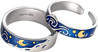 925 Sterling Silver Van Gogh's Sky Couple Rings Bright Shining River/Bee Promise Rings Blue Open Band Ring Engagement Romantic Jewelry Ring Size 5-8 Jewelry Gift for Women and Girls
