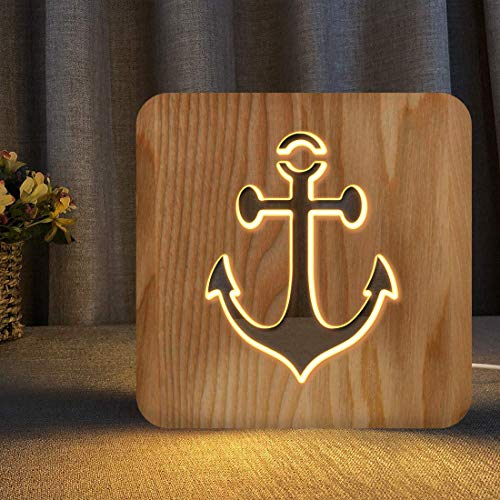 Sailing Boat Anchor Wooden Carving Night Light Warm White LED Bedside Table Lamp for Home Room Party Decoration, Creative Nautical Gifts for Men Women Friends Ocean Lovers