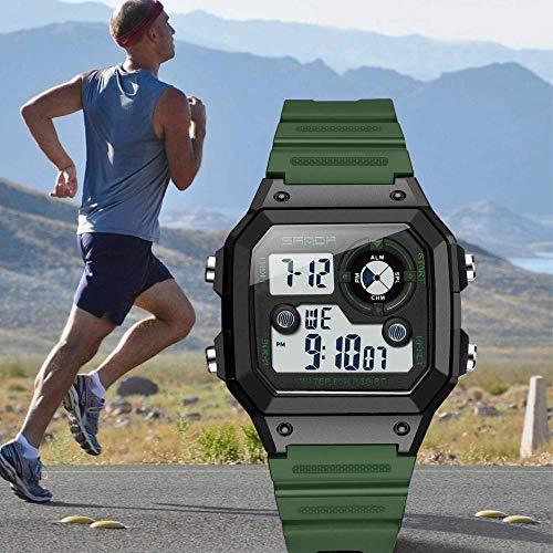 Reloj deportivo digital cronómetro a prueba de verrugas Natación Tratical Relojes Pulseras Temporizador Electrónico Reloj de pulsera de moda - Verde