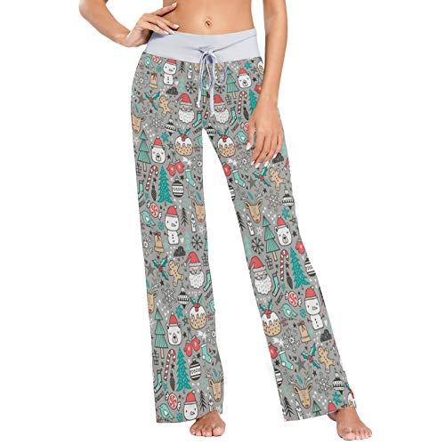 XiangHeFu Pantaloni Pigiama da Donna, Pantaloni da Yoga, Leggings Inferiori, Pantaloni da Salotto a Vita Alta, Modello di Cartone Animato Carino per Le Vacanze Invernali di Natale