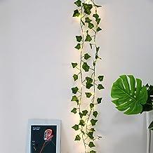 DEDC 1 Pack 10 Meter 100 LED String Lights Kunstmatige Klimop Nep Garland Groen Blad Planten Wijnstok Batterij Operate Fai...