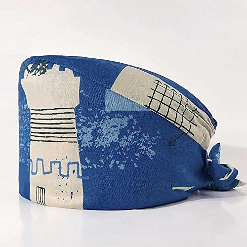 MIYAA 6 Gorro De Trabajo De Algodón Ajustable Gorro De Limpieza con Estampado De Faro Gorro De Salón De Belleza para Trabajadores De Belleza Suministros De Cuidado Personal, Azul,