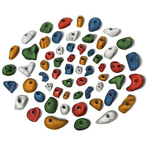 ALPIDEX Starterset: 60 Klettergriffe Klettersteine - für eine Fläche von ca. 4 bis 8 m², Mixed Coloured