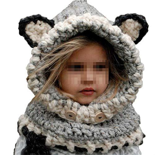 Kfnire Gorros de Punto cálidos bebé Gorros de Animales Lindos Fox Sombrero y Bufanda Gorros Gorras (Gris)