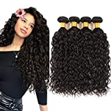 Perstar 8A Human Hair Bundles Brazilian Virgin Hair Water Wave Bundles Natural Black 100% Unprocessed Virgin Hair Bundles Brazilian Curly Wavy Human Hair Weave 4 Bundles Remy Human Hair Extensions