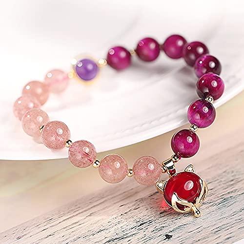 Feng shui riqueza pulsera púrpura tigre ojo malvado ojo piedra fresa cuarzo curación cristal pulsera zorro encanto amuleto de amor...