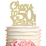 50 Cake Topper - Premium Gold Metal - 50th Birthday or Anniversary Party - Cheers to 50 Years...
