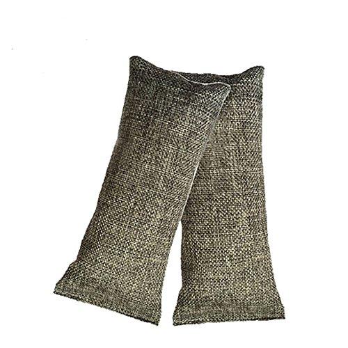 Uhat® Lot de 2 sacs de charbon de bambou naturel, désodorisant qui absorbe les odeurs de chaussures, de fumée, de cuisine, de placards, de malle, de voiture, d'animaux domestiques