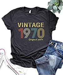 ❤Tee Shirt Material:Cotton/Polyester,Soft Comfy Breathable.Hand wash or machine wash in cold water allowed. ❤Tee Shirt Features: Vintage 1970 Original Parts Letters Printing 50th 49th Birthday Gift T Shirt.Summer O-Neck Short Sleevel Retro Shirt ❤Sui...