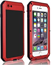 CarterLily Shockproof Dustproof Water Resistant Aluminum Armor Full-Body Protection Case for iPhone 6 Plus/iPhone 6S Plus (Red)