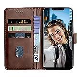 Baiyian Ledertasche Brieftasche Schutzhülle Flip Hülle kompatibel mit Ulefone S10 Pro, Braun