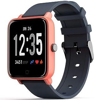 LTLJX Reloj Inteligente HR Health Watch Fitness Pulsera Monitor de Ritmo Cardíaco Reloj Deportivo 1.3'' Pantalla Color Presión Arterial Alarma Vibración para Hombres, Mujeres Niños,A