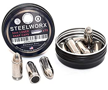 Steelworx 9mm Stainless Steel Snap Caps/Dry Fire Training Rounds  10x Silver
