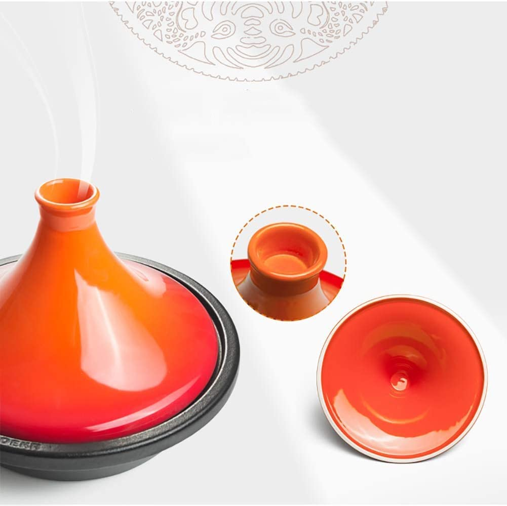 Yxxc Marmite en Fonte, marmite, marmite en Pierre coréenne à la mijoteuse, cocotte à Couvercle en céramique émaillée Rouge 1.79 Quart (1.7L) Pot à Soupe Blue
