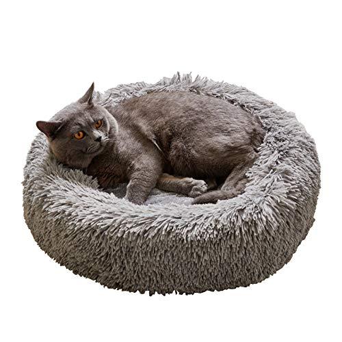 Flysheep ペットクッション 猫ベッド 犬ベッド 猫クッション ペットベッド ペットハウス 丸形 もこもこ あったか 犬猫用寝袋 洗える 55x55cm グレー