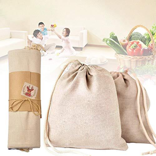 Fiaoen - Bolsa de Almacenamiento de algodón orgánico, respetuosa con el Medio Ambiente, Bolsa de la Compra ecológica con cordón para Almacenamiento de Alimentos, Bolsa de Comida rápida cercana