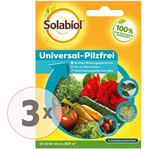 Solabiol Universal-Pilzfrei, zur Bekämpfung von Pilzkrankheiten an Zierpflanzen und Gemüse, Konzentrat, Sparpack 3 x 15 ml Plus Zeckenzange mit Lupe