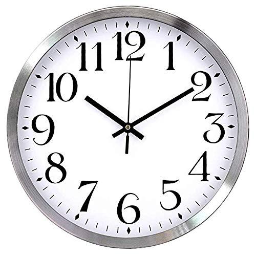 Wanduhr Metallrahmen Glasabdeckung Non-Ticking Number Quarz Wanduhr 12 Zoll/30 cm Modern Quarz Design Dekorative ür die Küche,Home Office, Wohnzimmer und Schlafzimmer(Weiß)