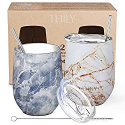 THILY Stainless Steel Insulated Wine Tumblers (Set of 2)