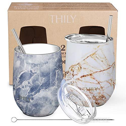 Vaso de vino de acero inoxidable sin tallo, THILY T1 Vaso de viaje aislado al vacío con tapa, para café, vino, cócteles, helado, sin sudor, irrompible, sin BPA, 2 juegos