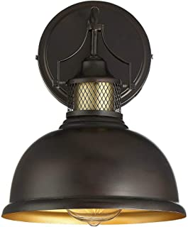 Trade Winds Lighting TW020439ORBNB Vintage Industrial Loft Styled Metal Shade Outdoor Wall Sconce, 100 Watt, in Oil Rubbed Bronze with Brass Accents