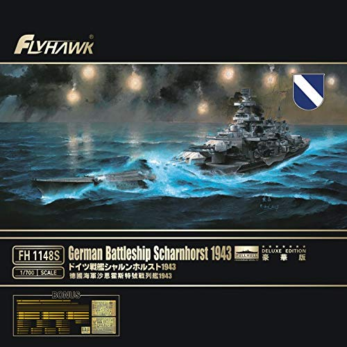 Flyhawk FH1148S 1/700 barco de batalla alemán Scharnhorst 1943 Deluxe Edition Kit...