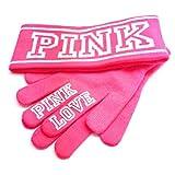 New! Victoria's Secret Pink Knit Headband & Gloves Set - Neon Pink NWT