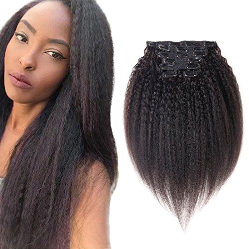 viviabella 100 Cheveux Humains Double trame d'épaisseur/Extensions cheveux bouclés à clip Noir naturel 160 g 45,7 cm -28 \