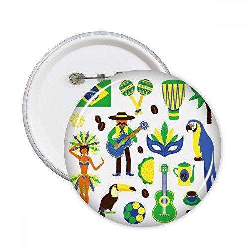 DIYthinker Botón del fútbol del loro Guitarra Hula Café Cultural Brasil Elemento pernos redondos Placa Ropa Decoración 5Pcs regalo XXL Multicolor