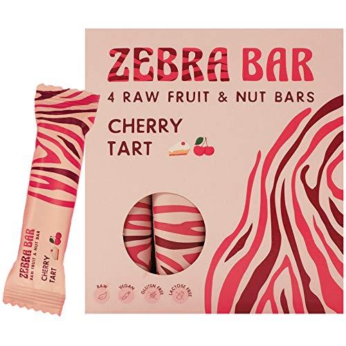 Zebra Bar, Frucht- & Nussriegel, Cherry Tart, ohne künstlichen Zucker, roh, vegan, gluten- und laktosefrei, 4 x 35 Gramm