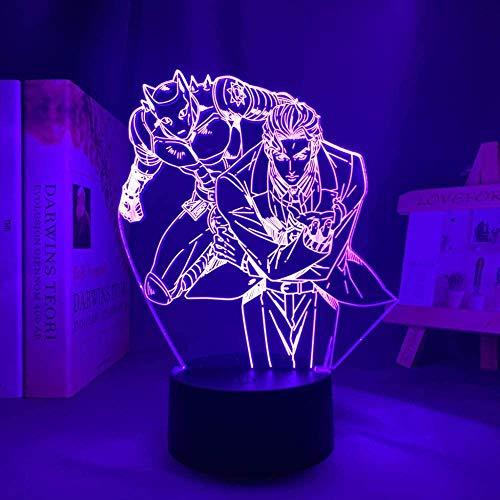 Lámpara de noche 3D de anime ilusión de Jojos Bizarres Aventura Anime Carácter LED lámpara de noche –7 colores regulables – Decoración de dormitorio lámpara de mesa –Niños Navidad regalo de cumpleaños
