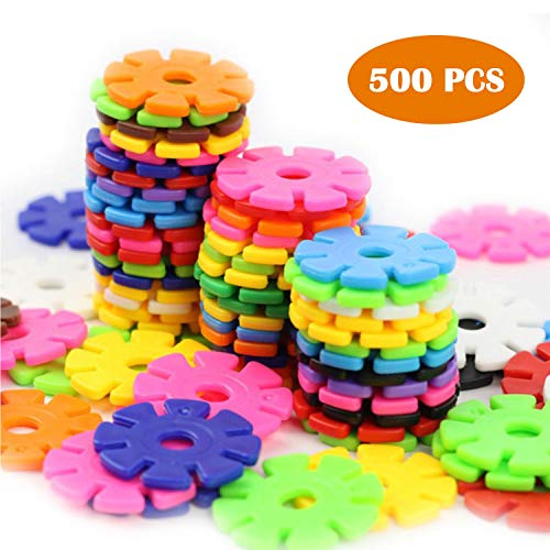 ZoZoplay Snow Flakes 500 Piece Building Blocks Construction STEM Toys Interlocking Plastic Disc Set Kids Classroom Creative and Educational Snowflakes Best Gifts for Boys & Girls Ages 3+